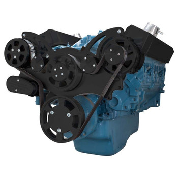 Stealth Black Serpentine System for Small Block Mopar - AC & Alternator