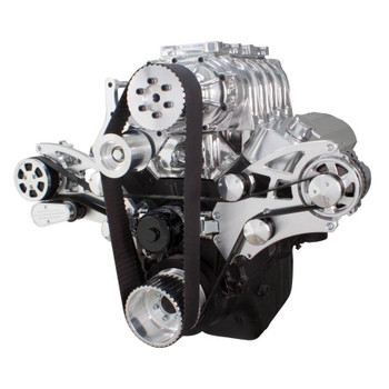 Serpentine System for 396, 427 & 454 Supercharger - AC, Alternator with EWP & Root Style Blower - All Inclusive