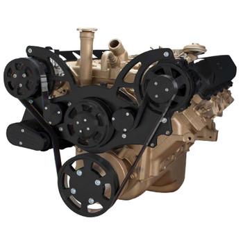 Stealth Black Serpentine System for Oldsmobile 350-455 - AC & Alternator - All Inclusive