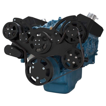 Stealth Black Serpentine System for Small Block Mopar - AC, Power Steering & Alternator