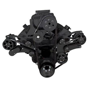 Black Serpentine System for Big Block Chevy Supercharger - AC, Power Steering & Alternator with Electric Water Pump - All Inclusive