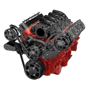 Black Chevy LS Engine Serpentine Kit - Alternator Only