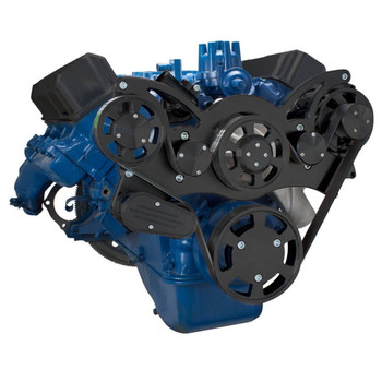 Stealth Black Serpentine System for Ford FE Engines - Alternator Only