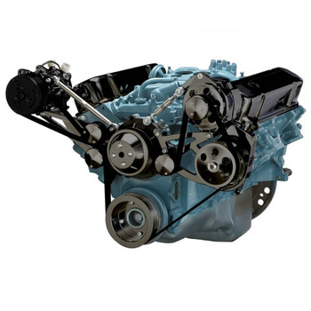 Black Pontiac Serpentine Conversion - AC, Power Steering & Alternator