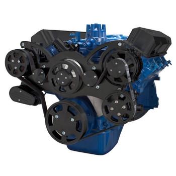 Stealth Black Serpentine System for Ford FE Engines - AC, Power Steering & Alternator