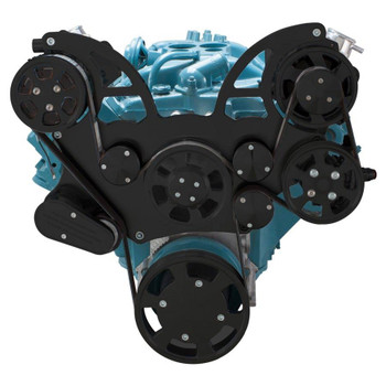 Stealth Black Pontiac Serpentine System for 350-400, 428 & 455 V8 - AC, Power Steering & Alternator