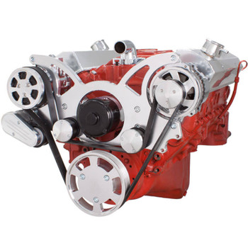 Serpentine System for SBC 283-350-400 - AC & Alternator with Electric Water Pump - All Inclusive