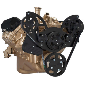 Stealth Black Serpentine System for Oldsmobile 350-455 - Alternator Only - All Inclusive