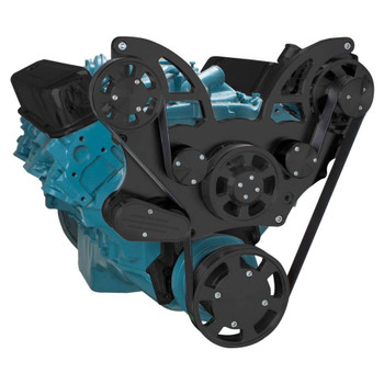 Stealth Black Pontiac Serpentine System for 350-400, 428 & 455 V8 - Alternator Only - All Inclusive