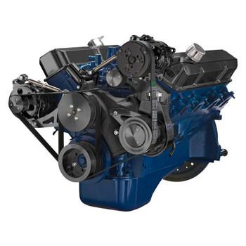 Black Ford 390 Serpentine System - AC, Alternator & Power Steering