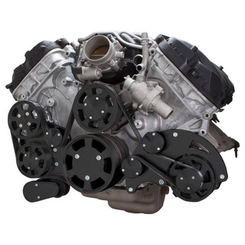 Stealth Black Serpentine System for Ford Coyote 5.0 - Alternator & Power Steering - All Inclusive