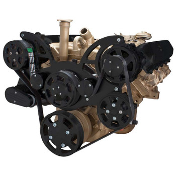 Stealth Black Serpentine System for Oldsmobile 350-455 - AC, Power Steering & Alternator - All Inclusive