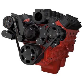 Stealth Black Chevy LS Serpentine Kit - AC & Power Steering, Electric Water Pump