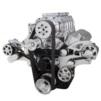 Serpentine System for Big Block Chevy Supercharger - AC, Power Steering & Alternator with EWP & Root Style Blower - All Inclusive