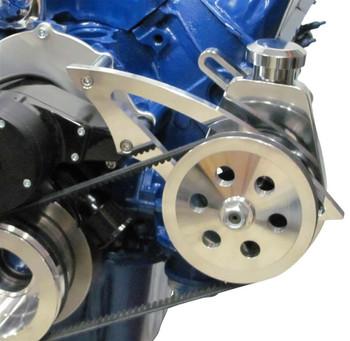 Stealth Black Ford Small Block Power Steering Bracket - 289, 302, 351W Electric Water Pump