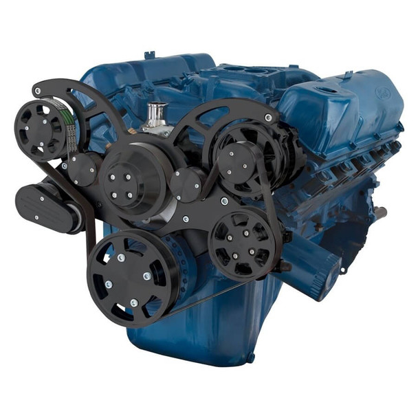 Black Serpentine System for 351C, 351M & 400 - Power Steering & Alternator