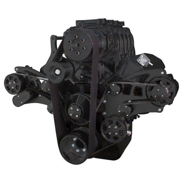 Black Serpentine System for Big Block Chevy Supercharger - AC, Power Steering & Alternator