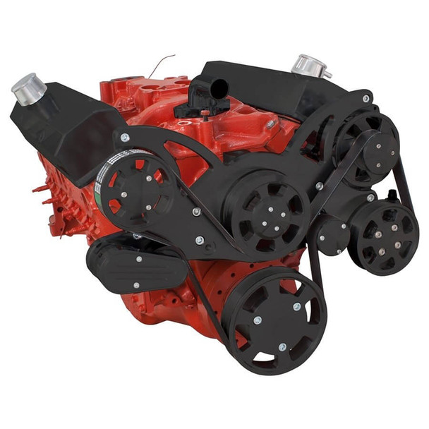 Black Serpentine System for SBC 283-350-400 - Power Steering & Alternator