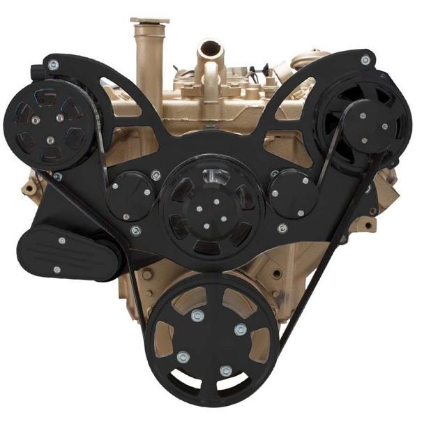 Stealth Black Serpentine System for Oldsmobile 350-455 - AC & Alternator