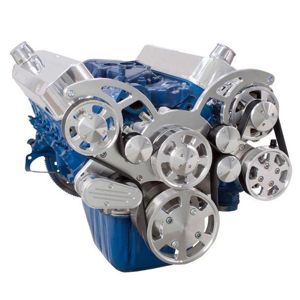 Polished Wraptor Serpentine System for Ford Small Block - Power Steering & Alternator Configuration