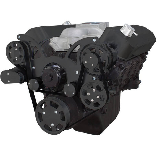 Black Serpentine System for 396, 427 & 454 - Power Steering & Alternator with Electric Water Pump