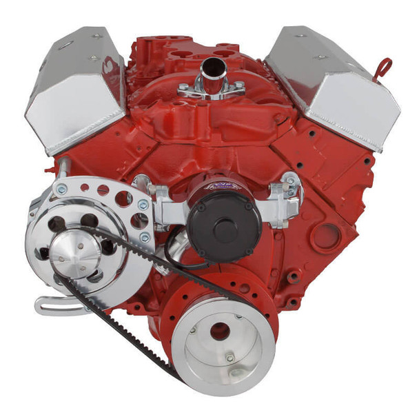 Chevy Small Block V-Belt System, Alternator Only - Electric Water Pump