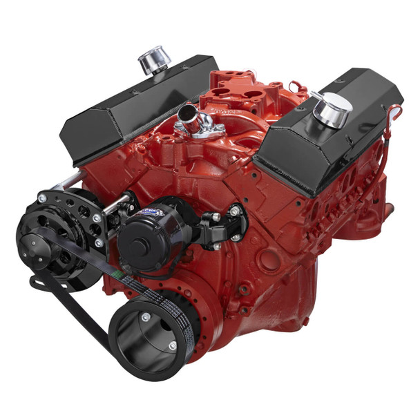 Black Chevy Small Block Serpentine Conversion - Alternator Only, Electric Water Pump