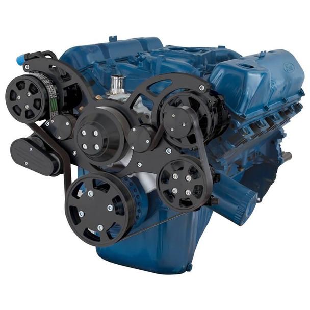 Black Serpentine System for 351C, 351M & 400 - AC, Power Steering & Alternator
