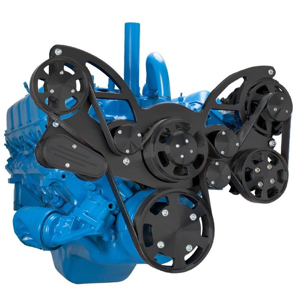 Stealth Black Serpentine System for AMC Jeep 304, 360 & 401 - Power Steering & Alternator - All Inclusive