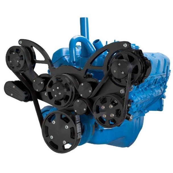 Stealth Black Serpentine System for AMC Jeep 306, 360 & 401 - Power Steering & Alternator