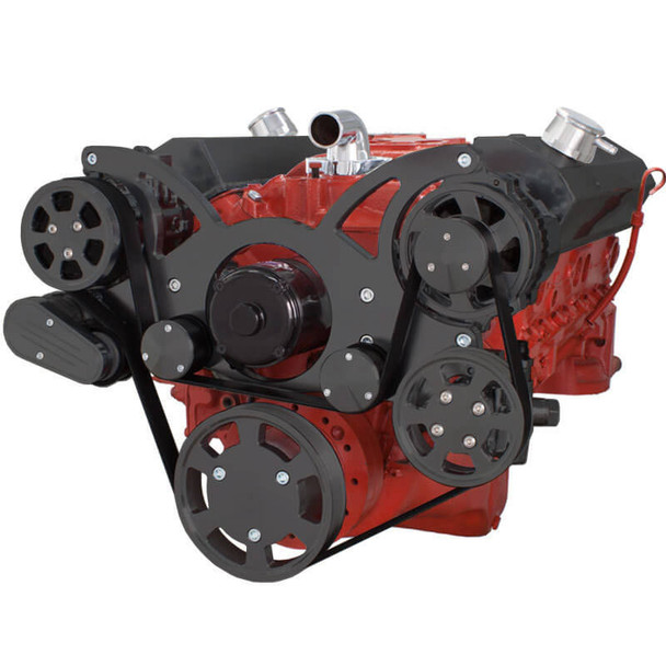 Black Serpentine System for SBC 283-350-400 - AC, Power Steering & Alternator with Electric Water Pump