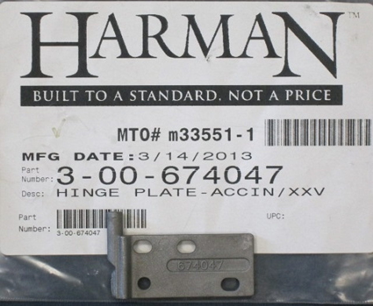 Harman Accentra Insert And Xxv Hinge Plate 3 00 674047