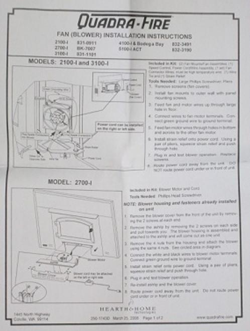 quadrafire 2100i 3100i and 5100i blower 832 3190 rh stove parts unlimited com quadra-fire 1100 wiring diagram quadrafire thermostat wiring diagram