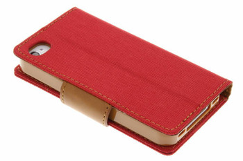 For iphone 4/4s Mercury canvas diary case red