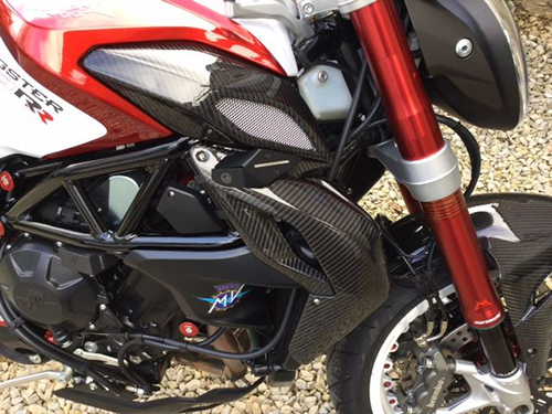 mv agusta,brutale,dragster,rr,800,carbon,fibre,fiber.radiator,covers,hugger,fender,mudguard,exhaust,heat,shield,guard,belly,pan