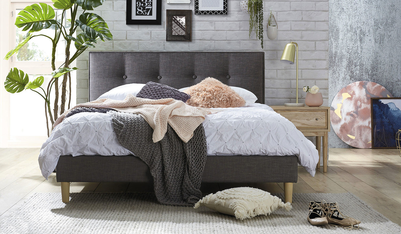 Affordable Grey Fabric Queen Size Bed With Tufted Buttoned Headboard
