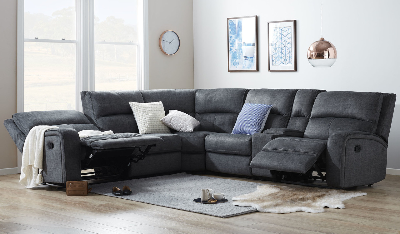 Fabric Corner Recliner Suite With Storage