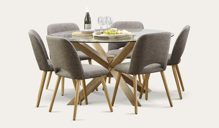 Small Round Glass Dining Table And 2 Chairs: Miles 7 Piece Round Dining Tables And Chairs