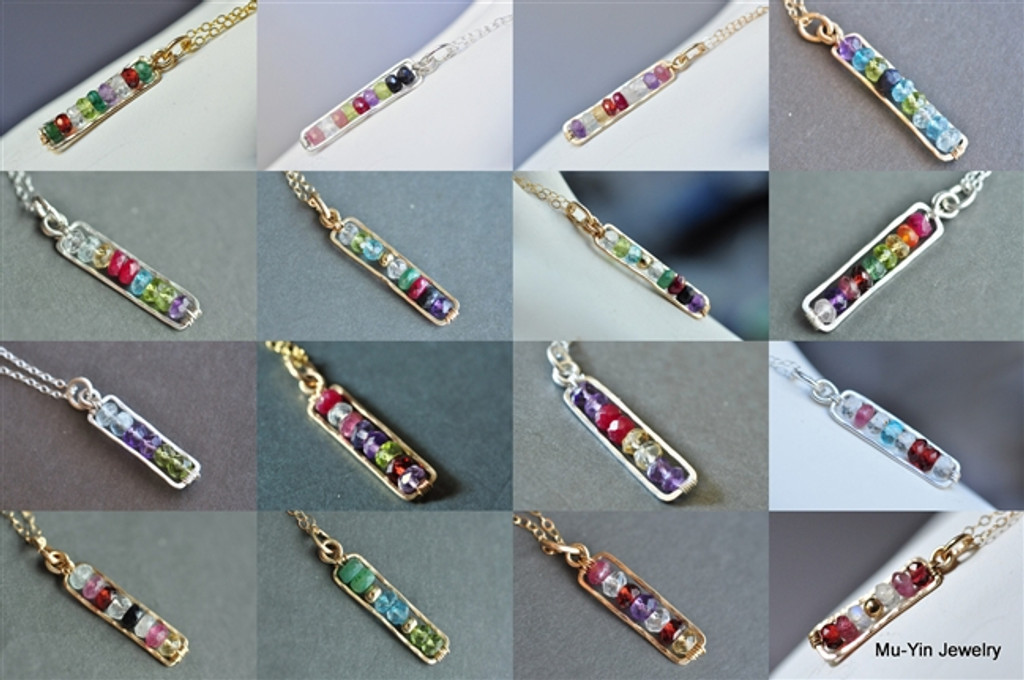FAMILY LINE - custom mothers birthstone necklace (5~12 stones)