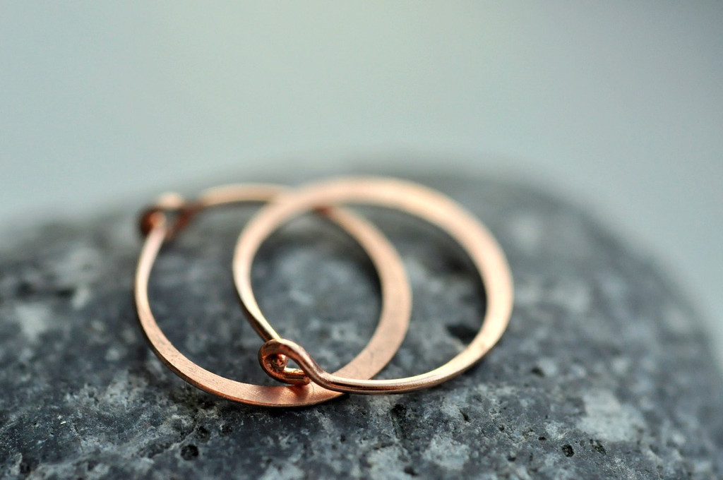 "classic 7/16"" (11mm) artisan forged hoop earrings rose"