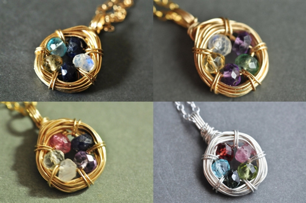 FAMILY NEST mother's / grandmother's birthstone necklace 5 stones genuine gemstones 14k gold filled