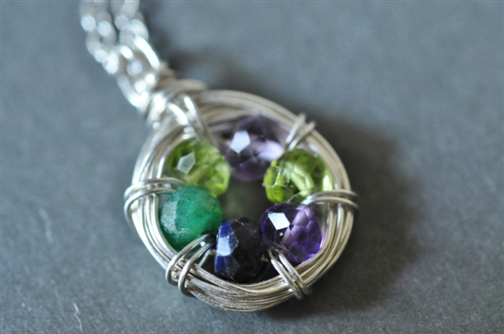FAMILY NEST mother's grandmother's 6 birthstone necklace - muyinjewelry.com