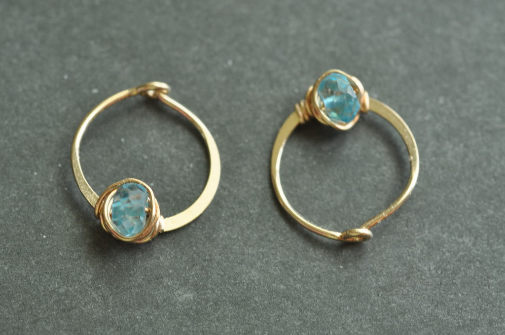 """11mm (7/16"""") gold hoops with blue topaz"""