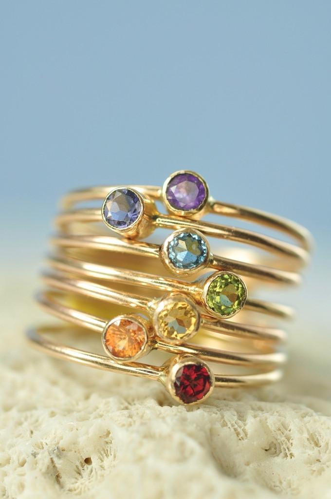 14k gold Rainbow stacking ring set, chakra rings - natural gemstones