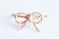 rose gold filled bow ring twisted wire