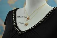 OPEN HEART custom mother's birthstone necklace (2 stones)