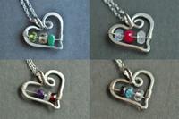 OPEN HEART custom mother's birthstone necklace (3 stones)