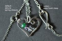 OPEN HEART custom mother's /grandmother's birthstone necklace (5 stones)