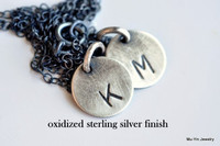 PERFECT MATCH  ( two zodiac signs ) hand stamped necklace in sterling silver