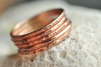 skinny textured stacking ring set of 5 in 14k rose gold filled